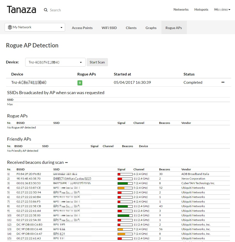 Scansione dei dispositivi rogue di Tanaza
