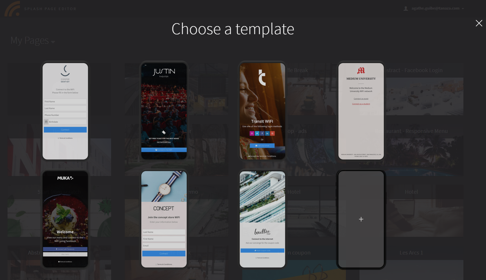 Choose a Template for Splash Page