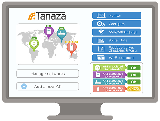 Wi-Fi cloud management and social hotspots | Trial Tanaza