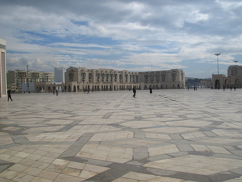 Large walkway in front of Hassan II Mosque Casablanca - free outdoor WiFi