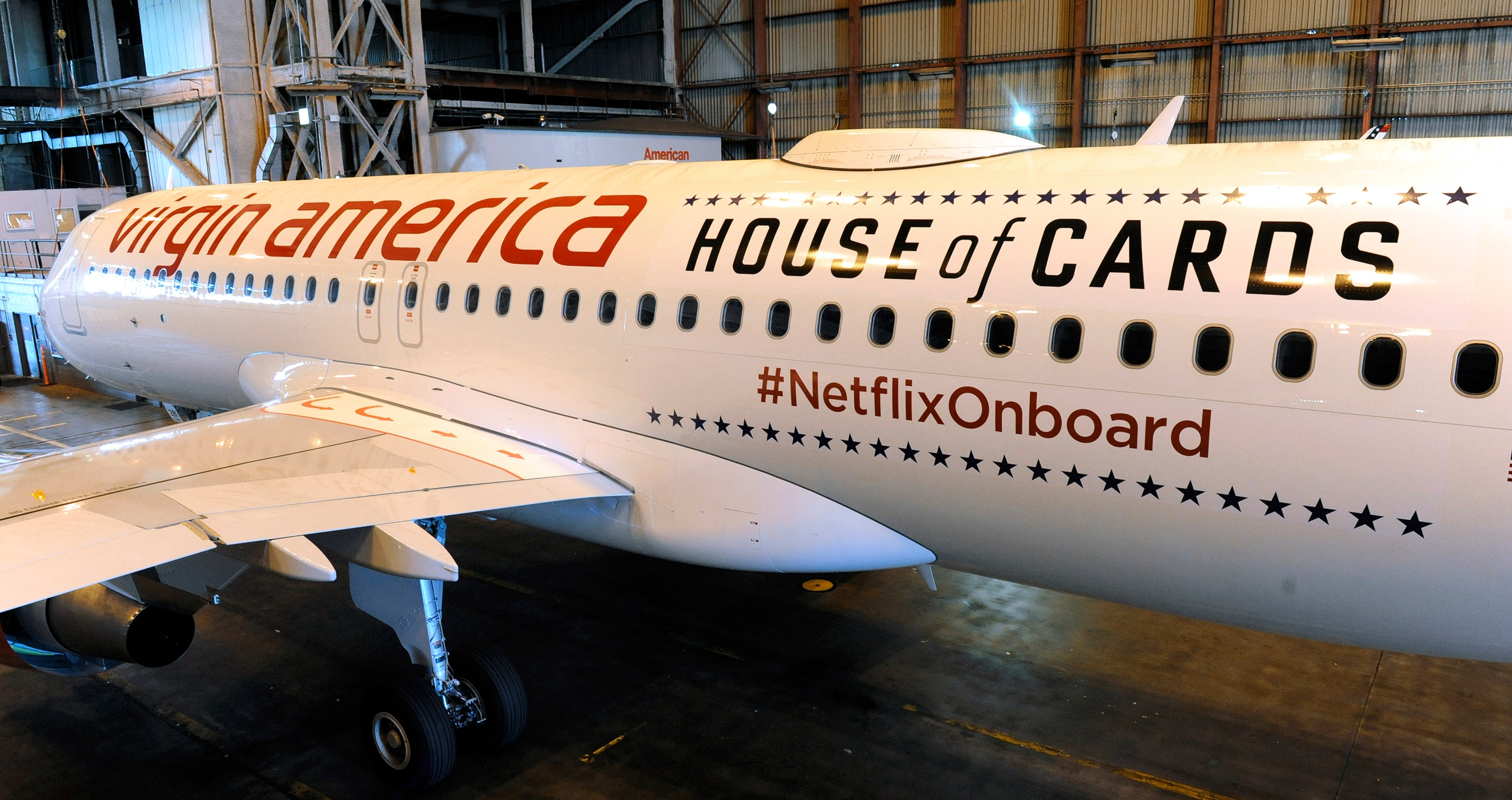 Virgin America Airlines and Netflix partner to offer 'next generation entertainment' on board 10 VA Airbus A320 Aircrafts. As part of their in-flight entertainment, flyers can access high-speed WiFi, and have unlimited access to the entire Netflix catalogue through their personal devices.- Netflix/Virgin America Flight