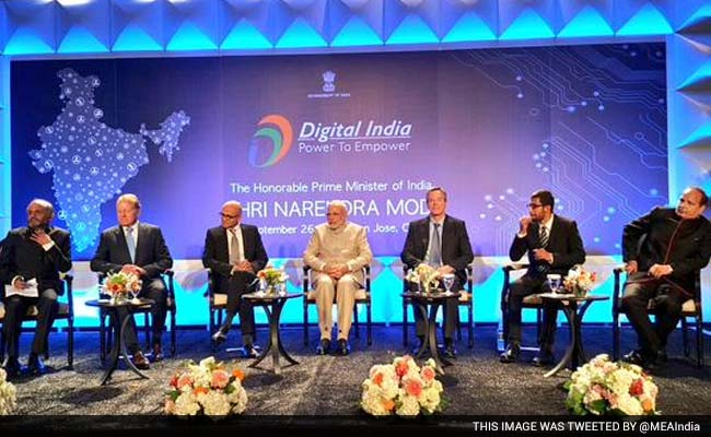 Narendra Modi, the prime minister of India, together with Satya Nadella, Microsft CEO, and Sundar Pichai, Google CEO, present the Digital India programme that will help solve the current digital divide and will lead to transformative results globally, especially for India and the United States. Digital India Conference