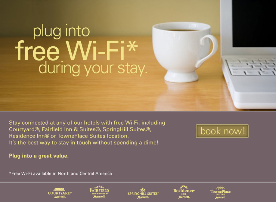 free_wifi-marriott-hotels The hospitality industry is not answering quickly to consumer demand. Free, ubiquitous, one-click and unlimited Wi-Fi in hotel is still a dream.