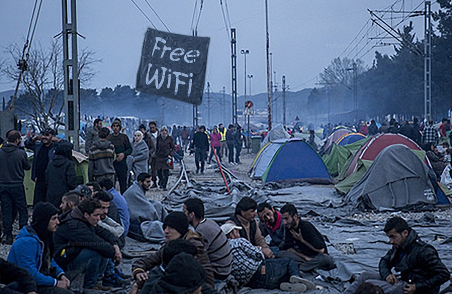 In September 2015, Ilias Papadopoulos brought a free Wi-Fi connection to a refugee camp in Idomeni, Greece - Free Wi-Fi access for refugees