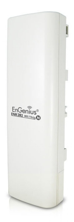 The Engenius ENH202 N300 is an outdoor access point and bridge that features a directional dual-polarity high-gain antenna with MIMO technology.