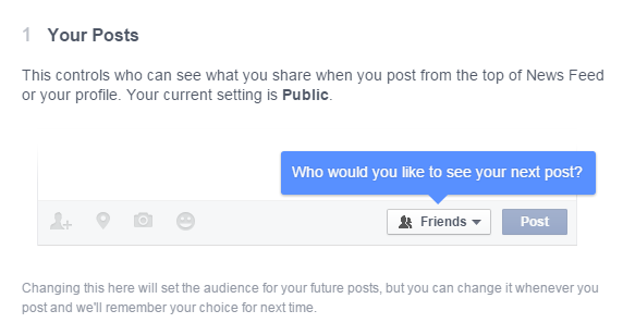 Privacy settings for the whole Facebook account