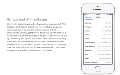 iOS8 and location-tracking of the MAC address