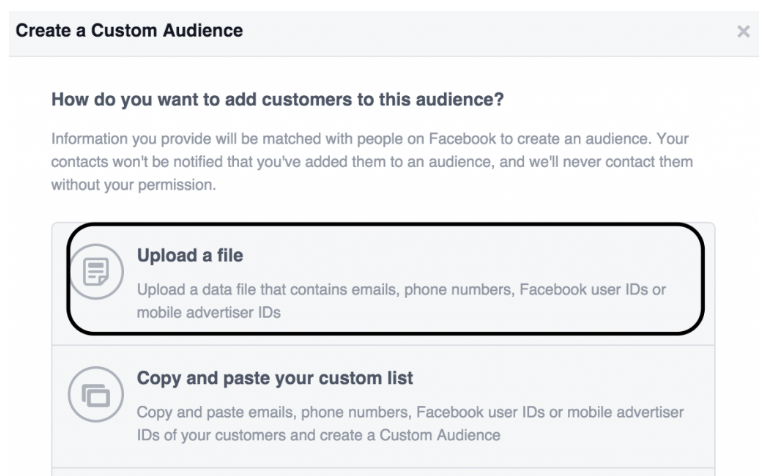 create a custom audience - upload a file