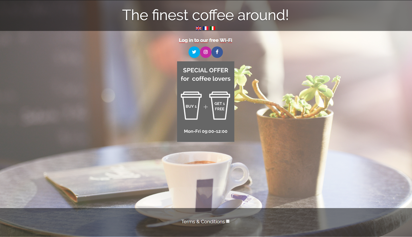 coffee shop login page