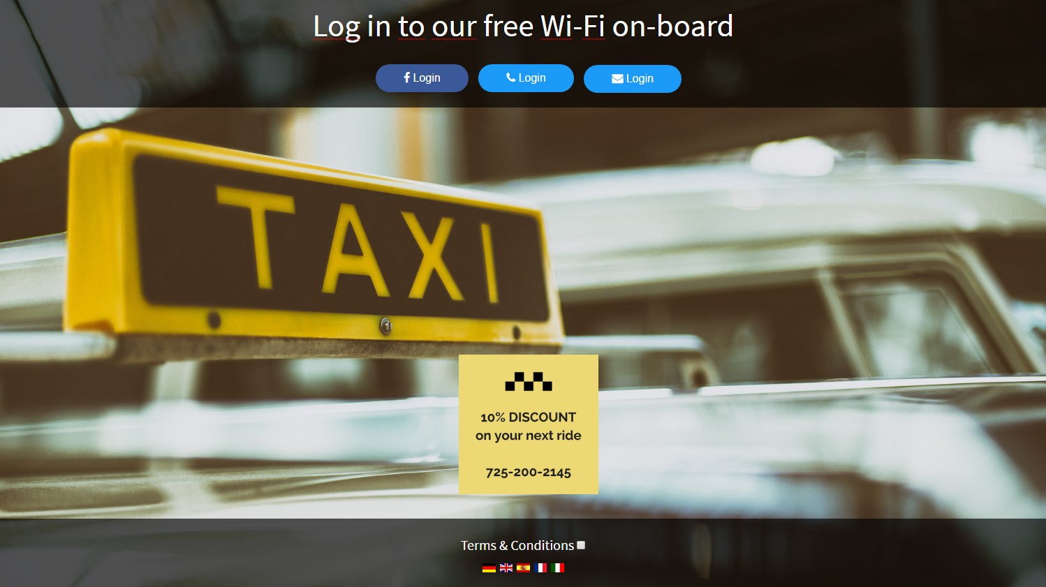 taxi login page