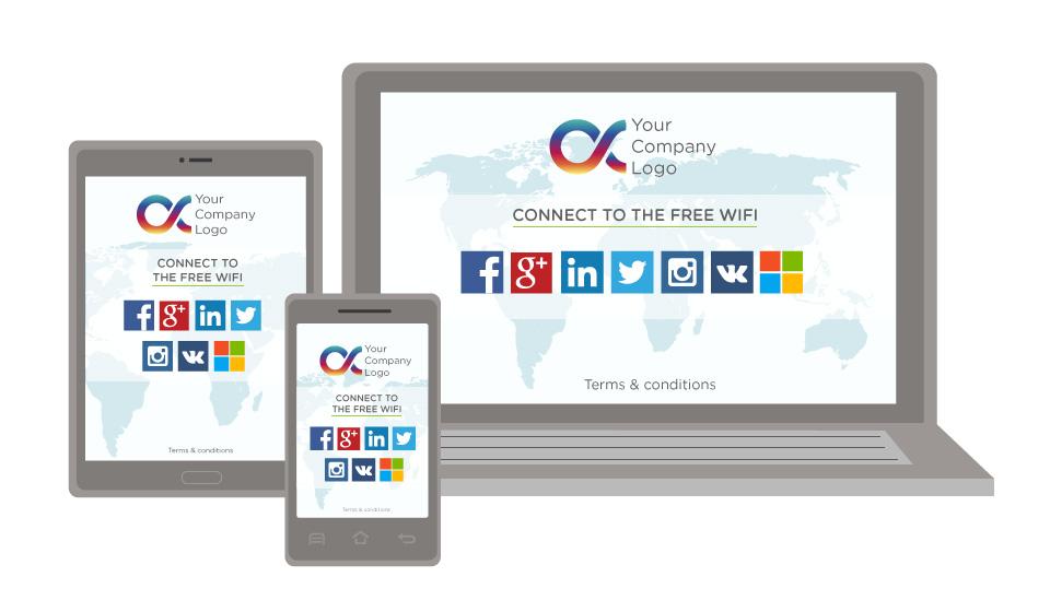 La Wi-Fi splash page en varios idiomas para mejores promociones